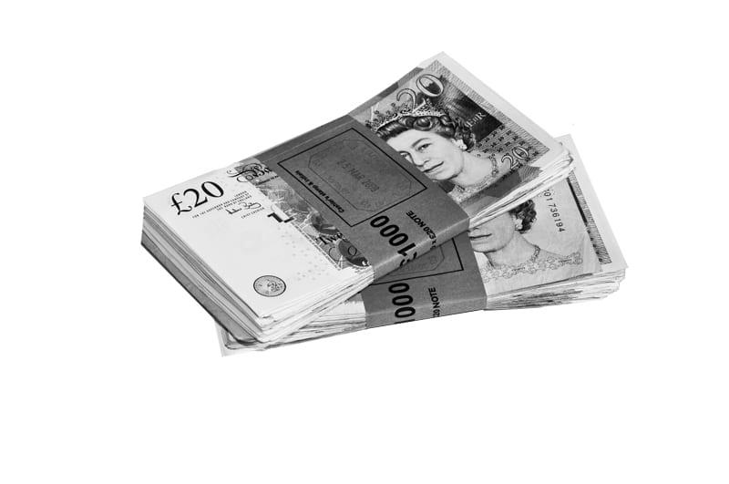 Two, 1000 pound bundles of twenty pound notes