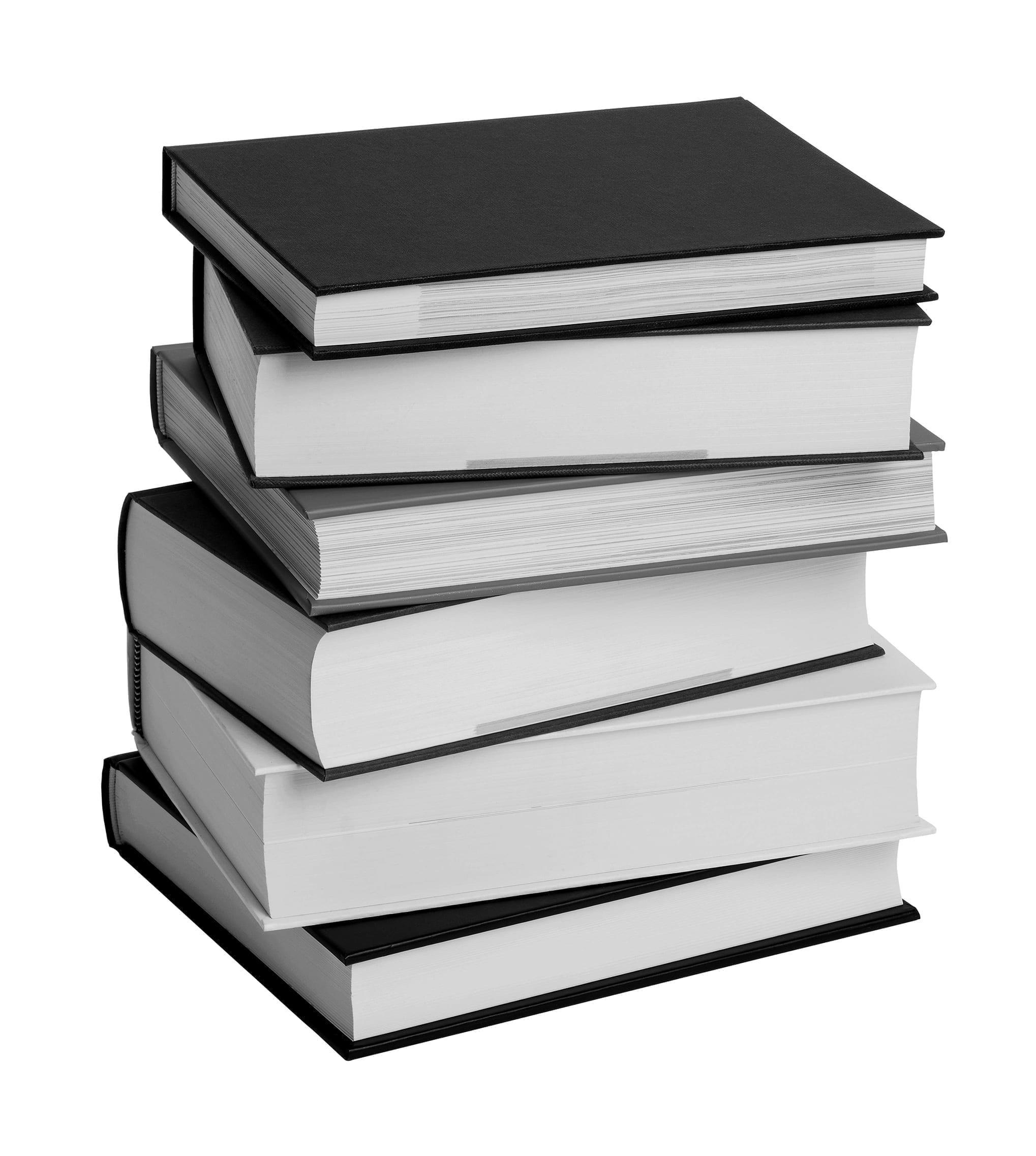 Stack of hardback books